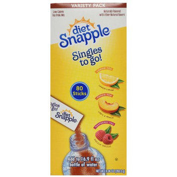 Jel Sert Diet Snapple Singles To Go! Drink Mix, Variety Pack, 80 Ct
