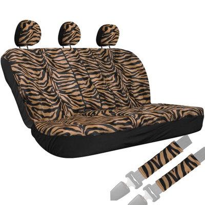 Oxgord 8pc Velour Zebra Striped Animal Print Low Back Rear Bench Car Seat Cover