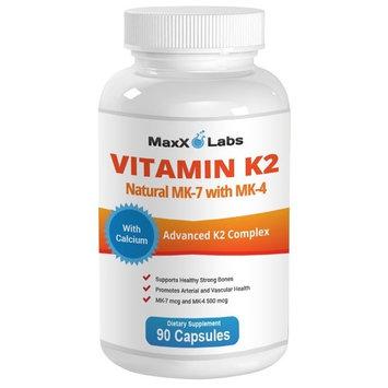BEST Vitamin K2 ★ 600 mcg ★ Advanced Formula - All Natural MK7 Natto and MK4 Plus Calcium 100 mg - Vitamins K MK-7 + MK-4 - No GMOs, Vegan K2-MK7 Supplement Complex K2-7 M7-90 Veggie Caps