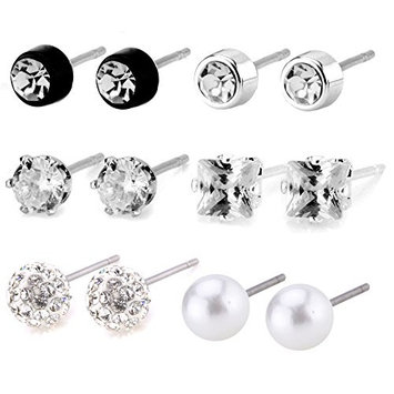 Charisma Cubic Zirconia Pearl Stainless Steel Stud Earring for Women 8 Pairs Set