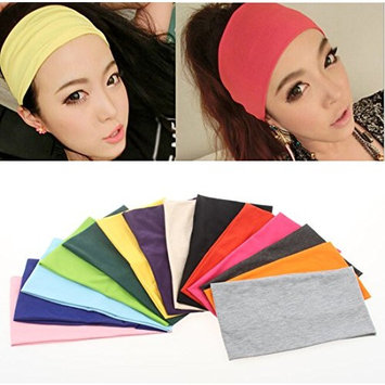 Flyusa Women's Headbands Headwrap Hair Band Candy Color Ultra Wide Yoga Sports Turban Elastic Headbands,Green
