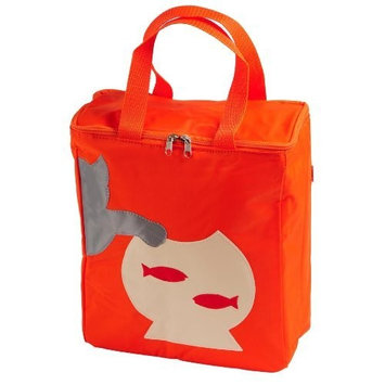 Petego United Pets Huggy Bag Italian-Designed Pet Accessory Carry Bag, Orange with Cat, 12 Inches by 12 Inches by 6 Inches