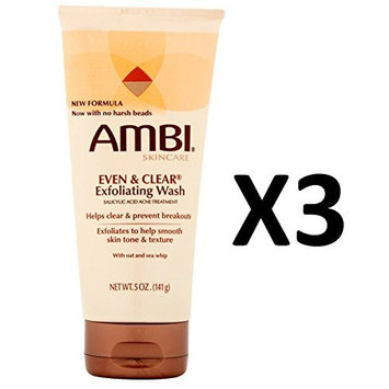 [PACK OF 3] AMBI SKINCARE EVEN & CLEAR EXFOLIATING WASH TUBE 5oz [PACKAGE VARY] : Beauty