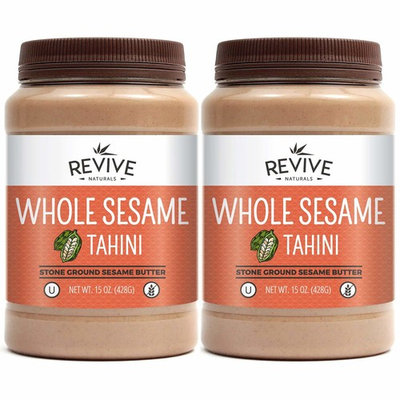Revive Naturals Stone-Ground Whole Sesame Tahini, Unhulled, Unsalted, Non-GMO, Gluten-Free, Kosher, Vegan, Tree Nut-Free, 15 Ounce (2-Pack)