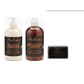 Shea Moisture African Black SUPER SET (shampoo, conditioner, and soap) by Shea Moisture