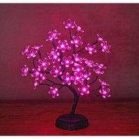 Lightshare 18in 36LED Big Blossom Flower Bonsai Light, Pink Flower, Green Leaf, Battery Powered - Warm White Lights