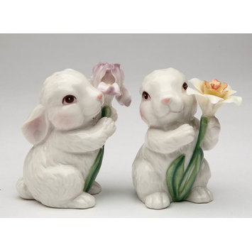 Cute Bunny Rabbits Couple with Flowers Salt & Pepper Shakers - Appletree Designs Cosmos