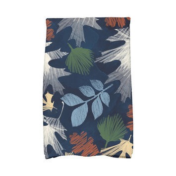 Loon Peak Flipping for Fall Watercolor Leaves Floral Print Hand Towel Color: Navy Blue