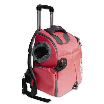 Pet Life Touchdog Wuffle Duffle Wheeled Backpack Pet Carrier, Red, One Size