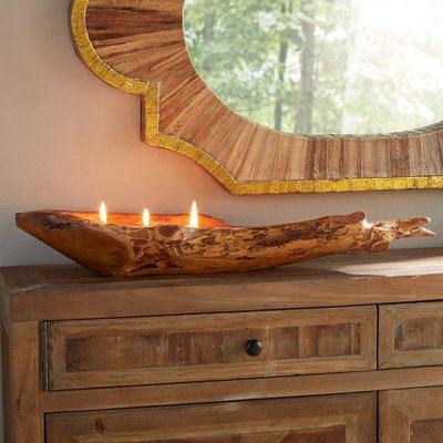 Rosecliff Heights Handcrafted Teak Boat Unscented Novelty Candle