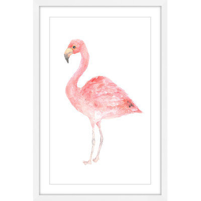 Marmont Hill Inc Marmont Hill - 'Pale Pink Flamingo' by Thimble Sparrow Framed Painting Print