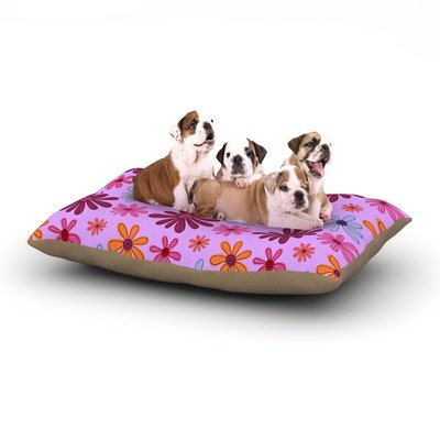 East Urban Home Jane Smith 'Woodland Floral' Flowers Dog Pillow with Fleece Cozy Top Size: Large (50
