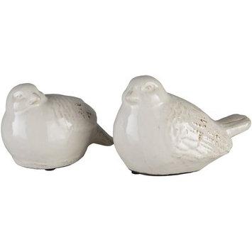 Lark Manor Lorient Ceramic Birds 2 Piece Figurine Set Color: White