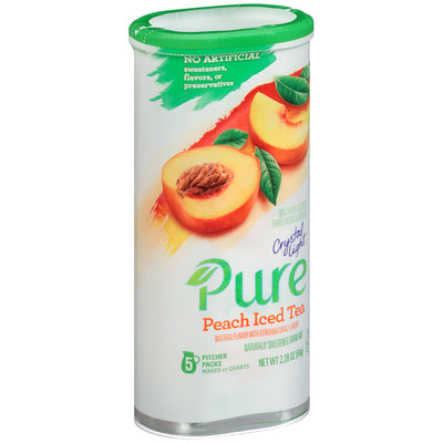 Crystal Light Pure Peach Iced Tea Drink Mix 5 ct Canister