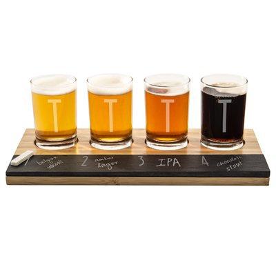 Latitude Run Metz Personalized Bamboo and Slate Tasting Flight 5.5 Oz. 6 Piece Drinkware Set Letter: T