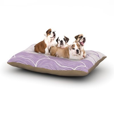 East Urban Home Pom Graphic Design 'The Lavender Seas' Waves Dog Pillow with Fleece Cozy Top Size: Small (40