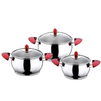 Hisr Lisbon Pot Set with Lid Color: Red