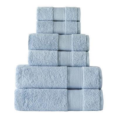 Rokahome 6 Piece Bath Towel Set Color: Blue