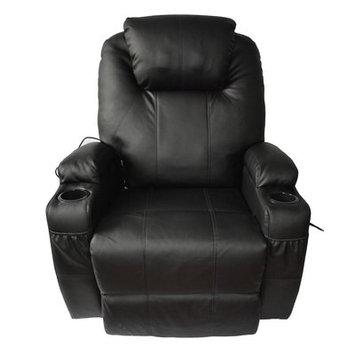 Red Barrel Studio Leather Adjustable Massage Chair Color: Black