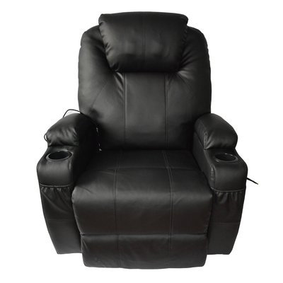 Red Barrel Studio Leather Adjustable Massage Chair Color: Black