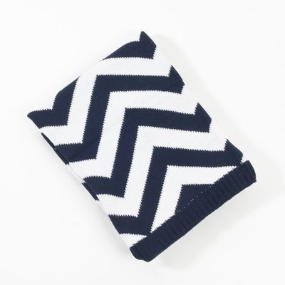 Saro Knitted Chevron Design Baby Blanket