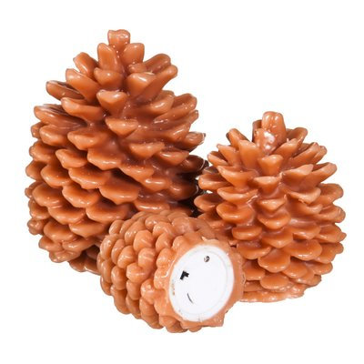 Three Posts Pinecone Shaped Battery Operated LED 3 Piece Flameless Pillar Candle Set