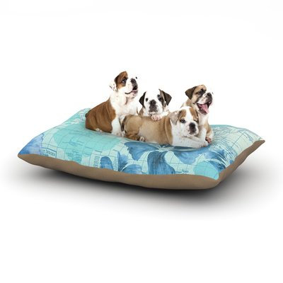 East Urban Home Catherine Holcombe 'Flower Power' Map Dog Pillow with Fleece Cozy Top Size: Small (40