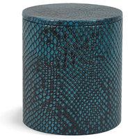 Brayden Studio Wendy Genuine Leather Round Storage Container Color: Blue Teal