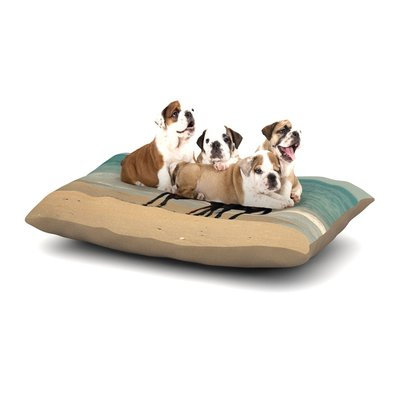 East Urban Home Robin Dickinson 'Sandy Toes' Beach Horses Dog Pillow with Fleece Cozy Top Size: Large (50
