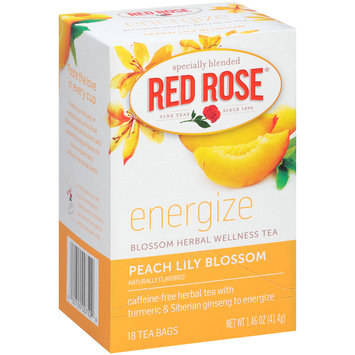 Red Rose® Peach Lily Blossom Energize Blossom Herbal Wellness Tea 18 ct Bags