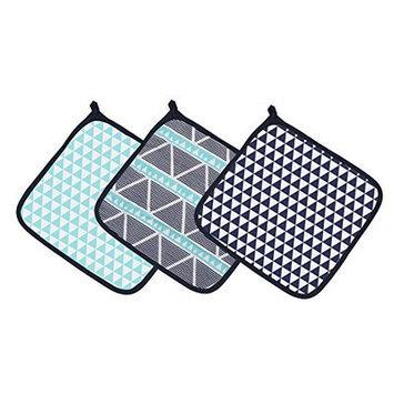 Bacati Liam Aztec Triangles Muslin 3 Piece Washcloth Set Color: Aqua/Navy