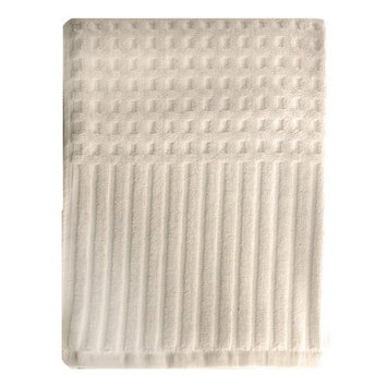 Homewear Linens City Stripe Honeycomb Bath Towel Color: Ivory