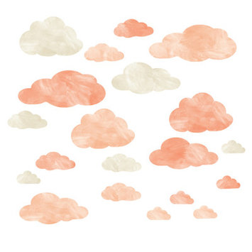 Eco Wall Decals 20 Piece Cloud Wall Decal Set Color: Coral/Ivory
