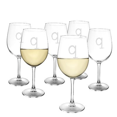 Latitude Run Metz Personalized 12 Oz. White Wine Glass Letter: Q