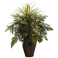 Bay Isle Home Mixed Grass and Fern Desk Top Plant in Planter