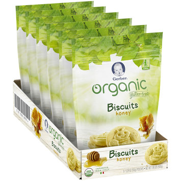 Gerber Organic Gluten Free Honey Biscuits 5.29 oz. (Pack of 6)