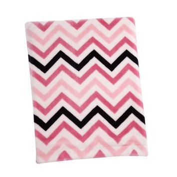 Crown Craft Sadie & Scout - Pink Chevron Plush Blanket