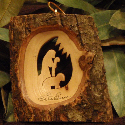 Earthwoodllc Olive Wood Bark with Wisemen, Sheperd, Nativity Ornament