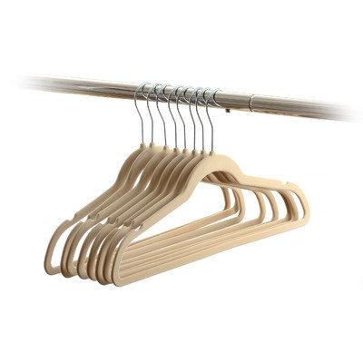 Rebrilliant Velvet Non-Slip Hanger Color: Beige