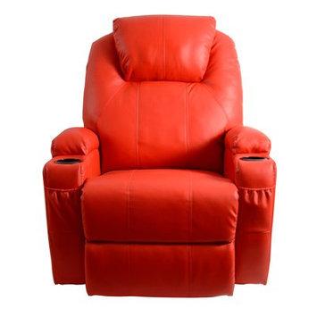 Red Barrel Studio Leather Adjustable Massage Chair Color: Red