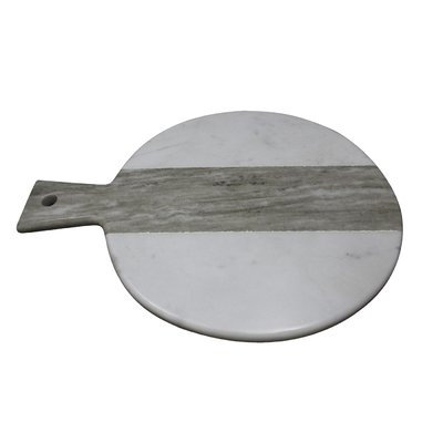 A & B Home Salient Marble Board, White And Brown