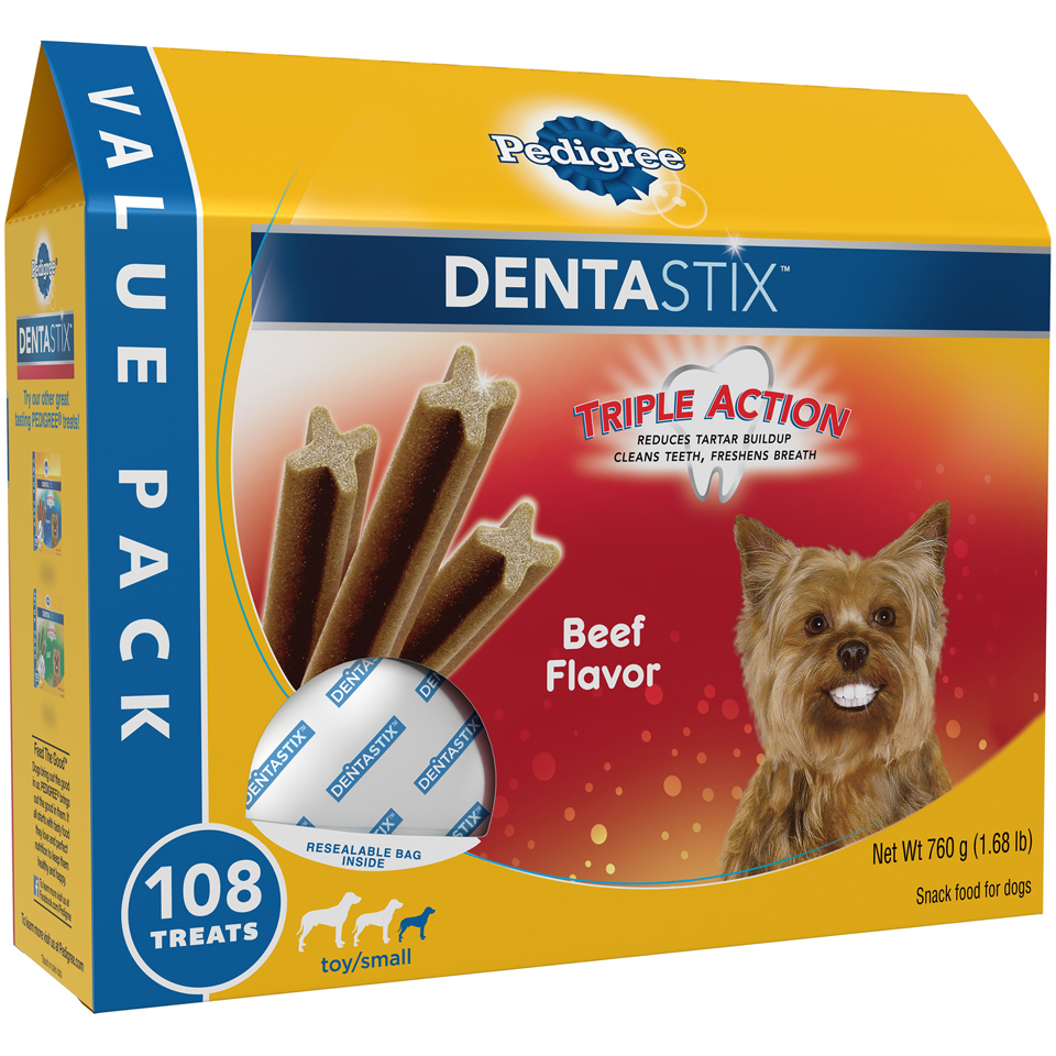 Pedigree® Denta Stix™ Toy/Small Dog Size Beef Flavor Snack Food for Dogs 108 ct Box
