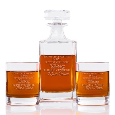 East Urban Home Too Much Of Anything Is Bad But Too Much Good Whiskey Is Barely Enough Classic Square 3 Piece Beverage Serving Set