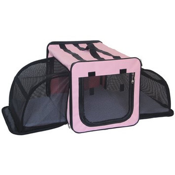 Pet Life Capacious Dual-Expandable Wire Dog Crate Pink