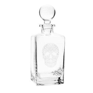 Cathys Concepts Sugar Skull Square Whiskey 32 oz. Decanter