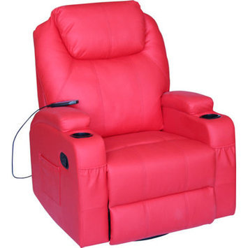 Newacme Llc NEW Modern Electric Recliner Wall Leather Lounge Executive Chair Furniture 8031 Red