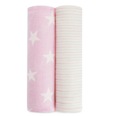Aden + Anais Pack Of 2 Flannel & Muslin Swaddling Cloths, Size One Size - Pink