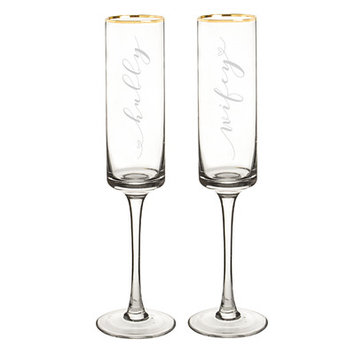 Cathys Concepts Wedding Hubby and Wifey Gold Rim Contemporary Champagne Flutes