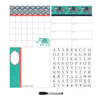 Brewster Wallcovering WallPops Indra Dry Erase Combo with Monogram Set of 2