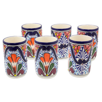 Novica Radiant Flowers 8 oz. Ceramic Juice Glass